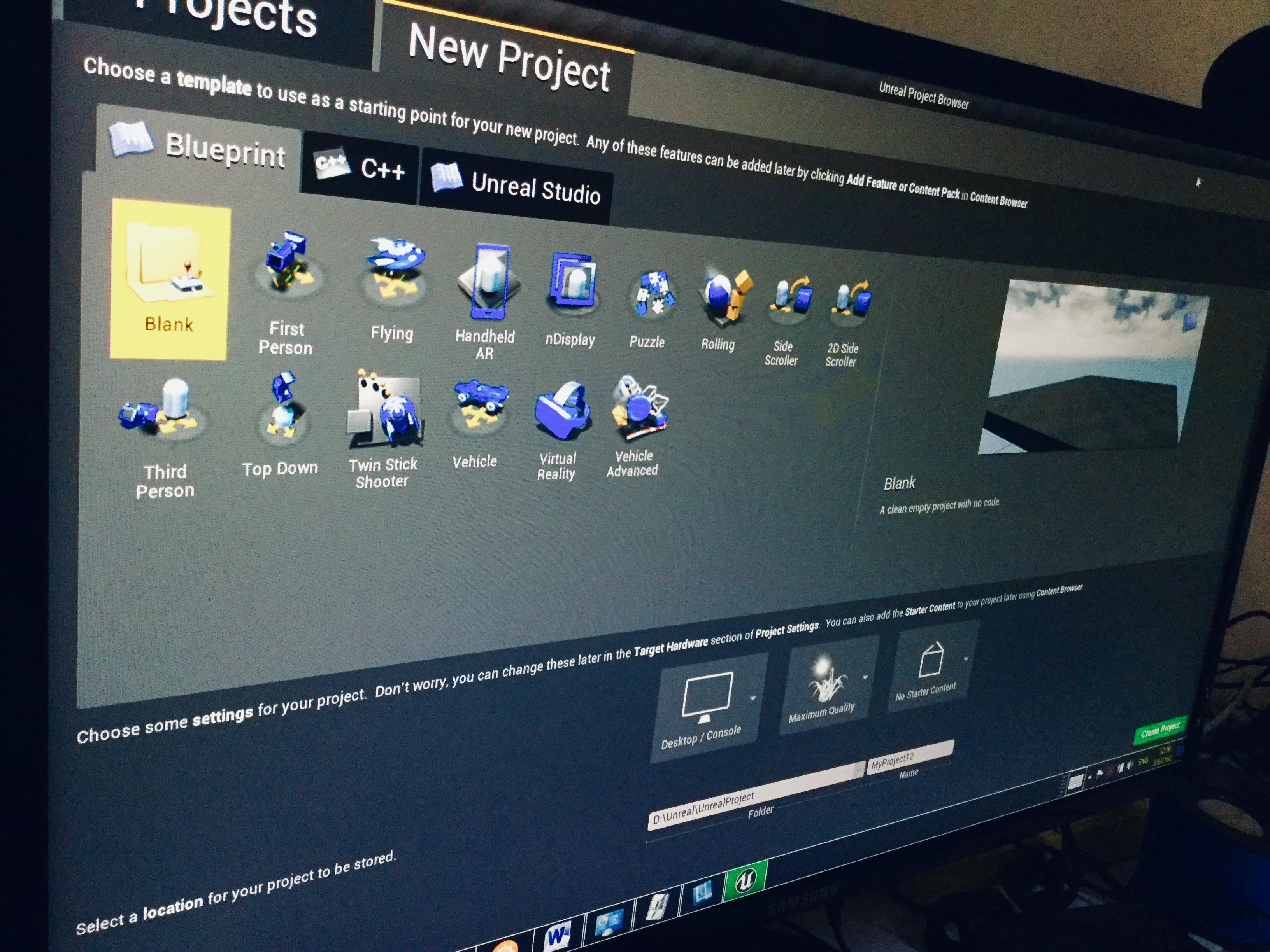 new-project-unreal-engine
