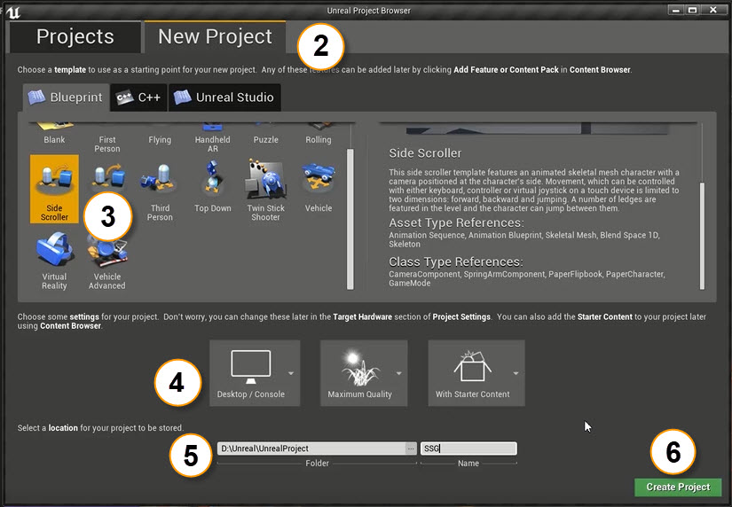 unreal project browser